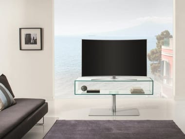 Swivel Glass and Stainless Steel TV cabinet NEW YORK