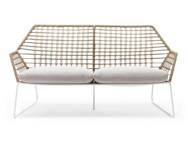 2 seater fabric garden sofa with removable cover NEW YORK SOLEIL | Garden sofa