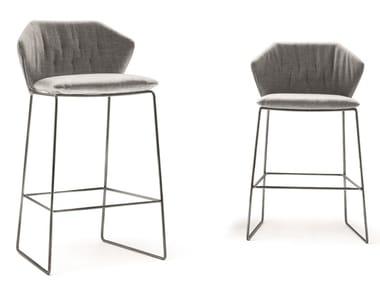 Sled base fabric stool with footrest NEW YORK | Stool