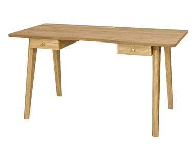 Wood veneer writing desk with drawers NICE
