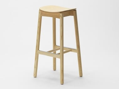 Stool with footrest NICO | Wooden stool