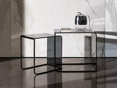 Stackable glass coffee table NIDO | Coffee table