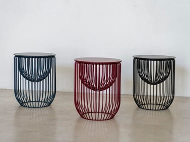 Powder coated steel stool / coffee table NIDO