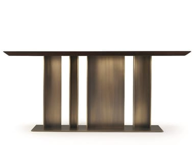 Rectangular wood-bronze console table NILA