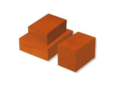 Tanned leather storage box NOCE SCATOLA RETTANGOLARE | Storage box