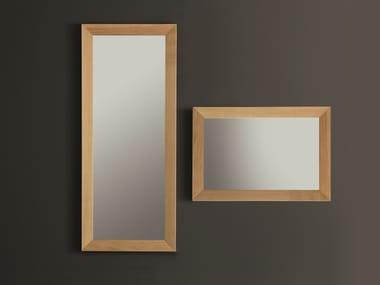 Rectangular wall-mounted framed oak mirror NOO | Mirror