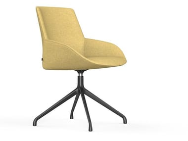 Upholstered leather chair NOOM | Trestle-based chair
