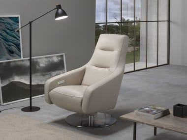 Swivel relaxing leather armchair with motorised functions NORA