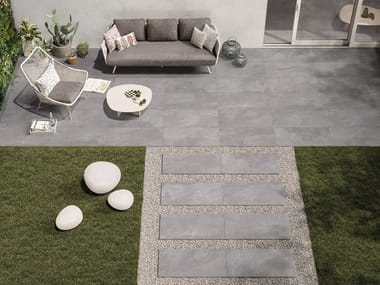 Draining porcelain stoneware outdoor floor tiles with stone effect NORDIKA 20mm