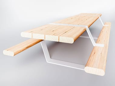 Steel and wood picnic table with integrated benches NORTH | Picnic table
