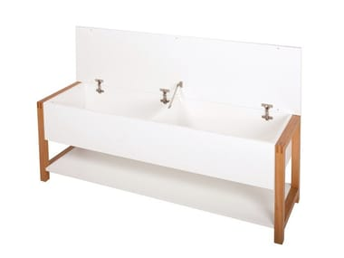 Storage lacquered melamine-faced chipboard bench NORTHGATE FLIP BENCH 1200