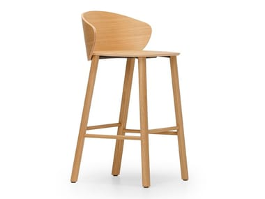 High wooden stool with footrest NOT WOOD | Wooden stool