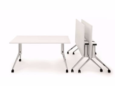 Folding rectangular office desk with casters NOTABLE FOLDING