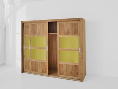 Solid wood wardrobe with sliding doors NOTE
