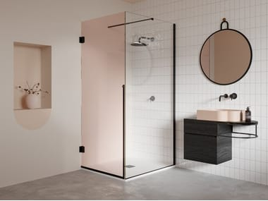 Corner shower cabin with hinged door NOUVEAU | Corner shower cabin