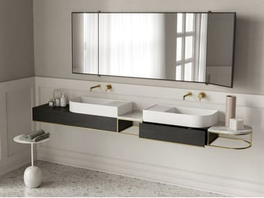 Sectional double wall-mounted vanity unit NOUVEAU | Double vanity unit