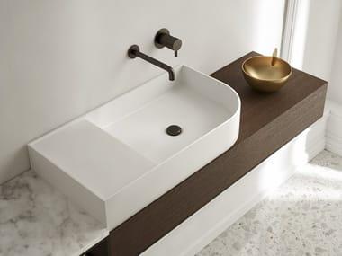 Lavabo rectangulaire en Livingtec® avec plan intégré NOUVEAU | Lavabo avec plan intégré