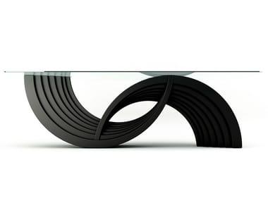Rectangular wood and glass table NOVA