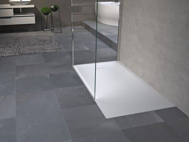 Stone effect rectangular shower tray NOVOSOLID