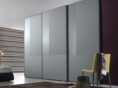 Armadio Ante A Vetro.Lacquered Wood And Glass Wardrobe With Sliding Doors Nuance By Jesse