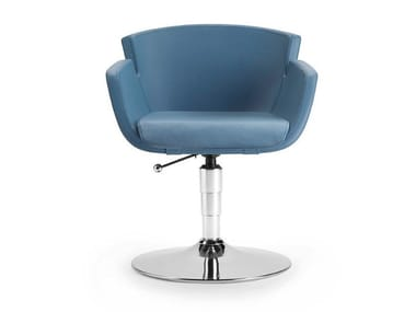 Swivel leather reception chair with armrests NUBIA 2901