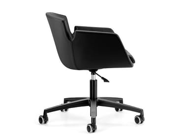 Height-adjustable leather office chair with 5-Spoke base with castors NUBIA 2905