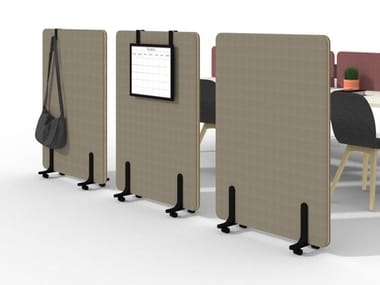 Mobile fabric office screen with casters NUCLEO | Office screen with casters