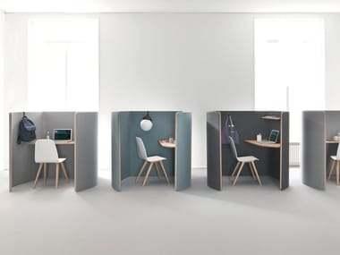 Individual office workstation with sound absorbing screens NUCLEO | Office workstation