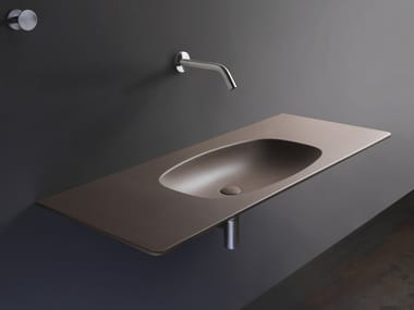 Rectangular ceramic washbasin with integrated countertop NUDAFlat