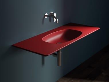Rectangular ceramic washbasin with integrated countertop NUDAFlat