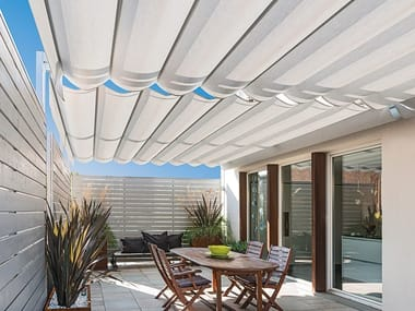 Acrylic fabric or PVC pergola with sliding cover NUVOLA