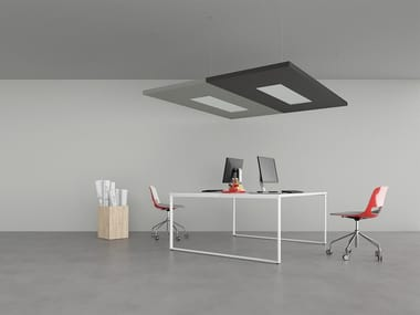 Group of sound-absorbing ceiling panels NUVOLA | Hanging acoustic panel with Integrated Lighting