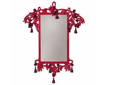 Rectangular framed wall-mounted wooden mirror NYMPH