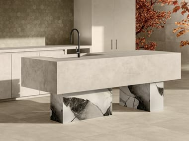 Porcelain stoneware kitchen with island with integrated handles OAK