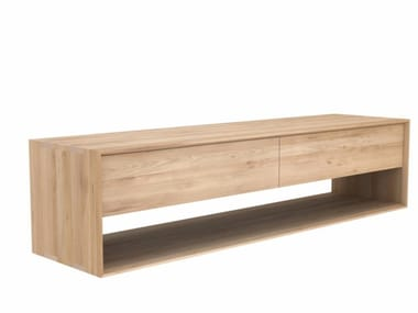 Low solid wood TV cabinet OAK NORDIC | Solid wood TV cabinet