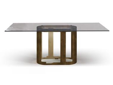 Tavolo rettangolare in acciaio e vetro OASI   Tavolo