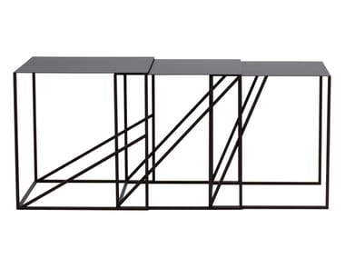 Stackable square metal coffee table OBLIQUE | Stackable coffee table