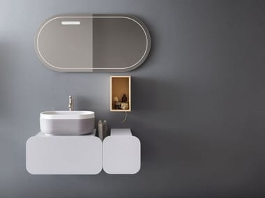 Single wall-mounted vanity unit with mirror OBLON - KEI