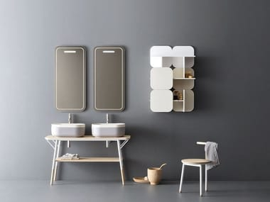 Double vanity unit with mirror OBLON - SABI