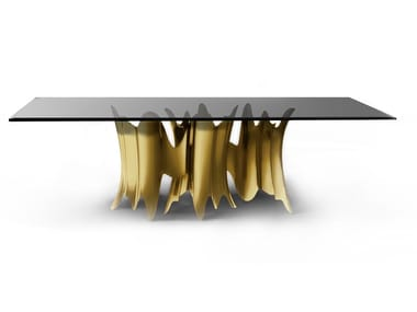 Glass and aluminium dining table OBSSEDIA | Table