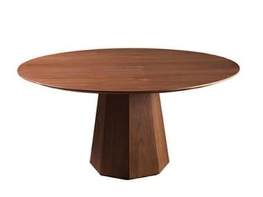 Round wood veneer table OCTO | Dining table