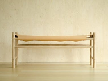 Tanned leather bench ODDA