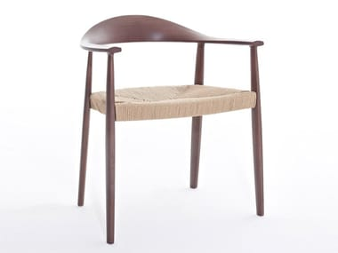 Solid wood chair with armrests ODYSSÉE