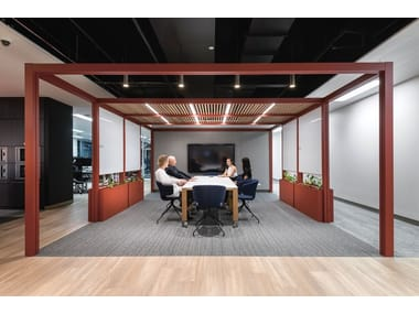 Powder coated aluminium office booth with built-in lights OFFICE PAVILIONS