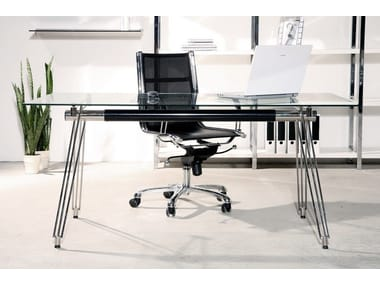 Rectangular glass and steel office desk OFFICIA