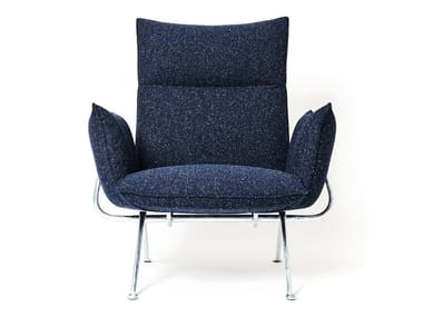Fabric armchair with removable cover with armrests OFFICINA | Fabric armchair