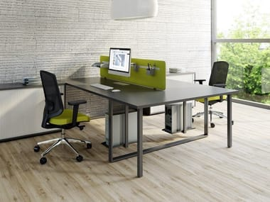 Multiple office workstation with sound absorbing screens OGI_Q   Office workstation