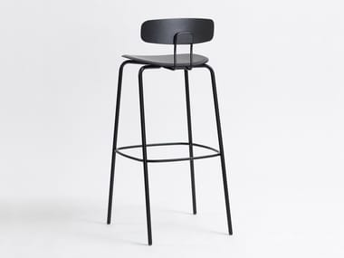 Steel and wood barstool with back with footrest OKITO BAR