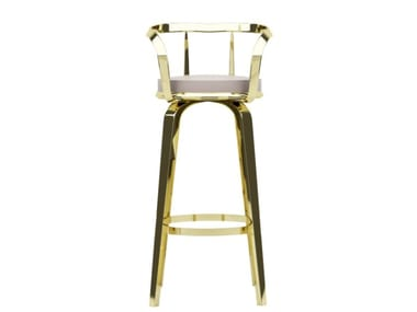 High steel stool with armrests OLA | Stool with back