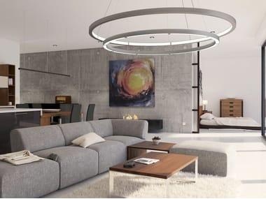 Lampada a sospensione a LED a luce diretta e indiretta in alluminio OLALA COMBO